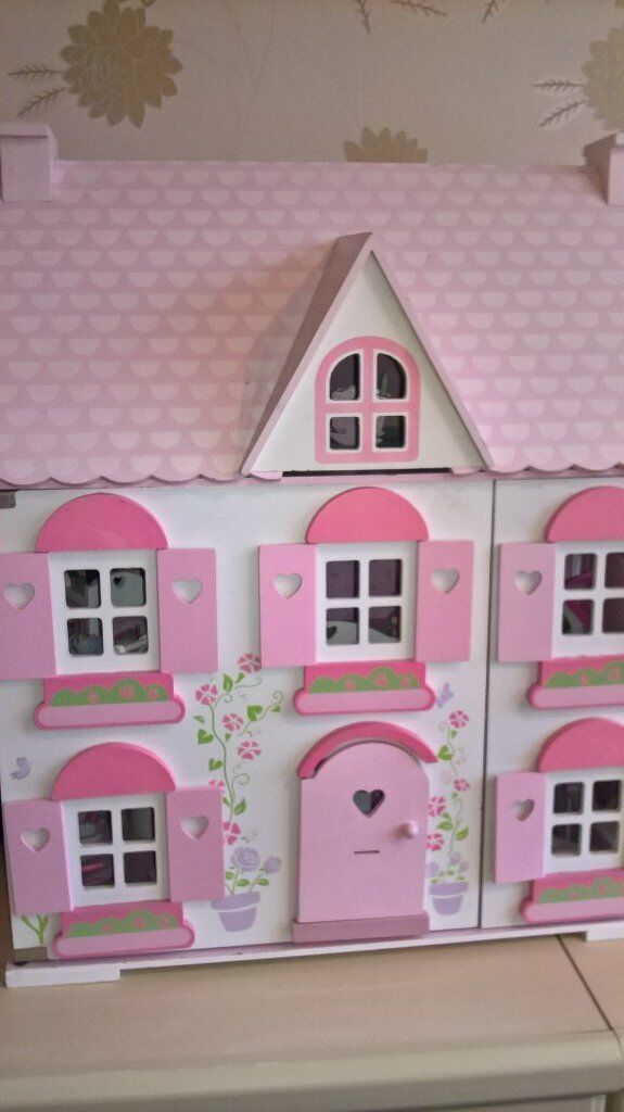 ELC wooden dolls house with all accessories