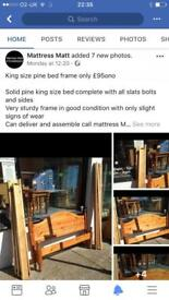 King size solid pine bed only £100ono