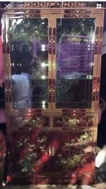 Chinese/Oriental Red Lacquer Bird & Flower Display Cabinet