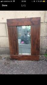 Chunky homemade wooden mirror