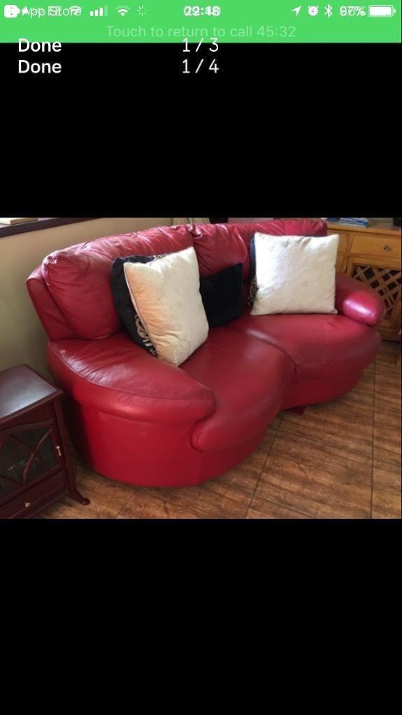 Fabulous Italian Red Leather Sofa