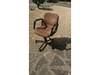 Office chair low back – brown suede, adjustable, swivel