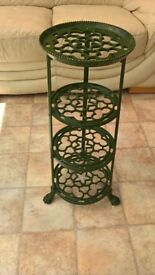 Vintage 'Viking' 4 tier pan stand cast iron green