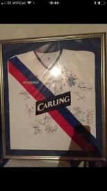 Signed and framed Rangers top