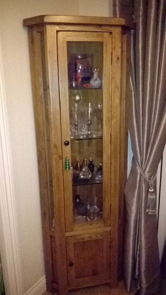 Oak Glazed Display Corner Unit