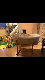 Mothercare Wicker Moses Basket and Rocking Stand