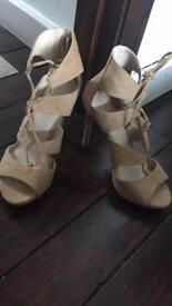 Cream suede high heel tie up. Size 6. Brand new