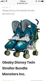 Obaby Disney monsters inc double twin stroller good condition