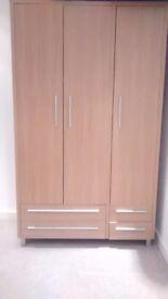 3 Door Oak Finish Wardrobe with Shelves