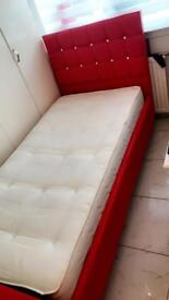 Red leather & Dimonte Single Bed