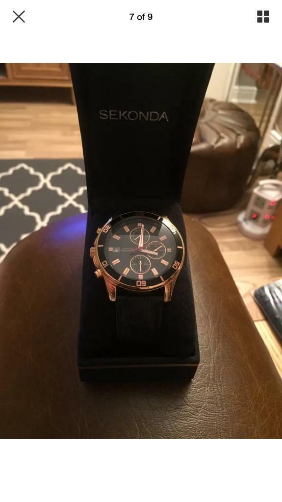 b88bbb7edba1 SEKONDA men s chronograph watch   Stockwell SW9   rose gold night fall 1051    £40NO OFFERS