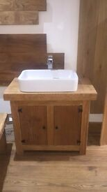 Oak Wash Stand with Cupboards