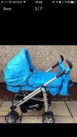 Vibrant blue babystyle lux baby pram from birth *price reduced*