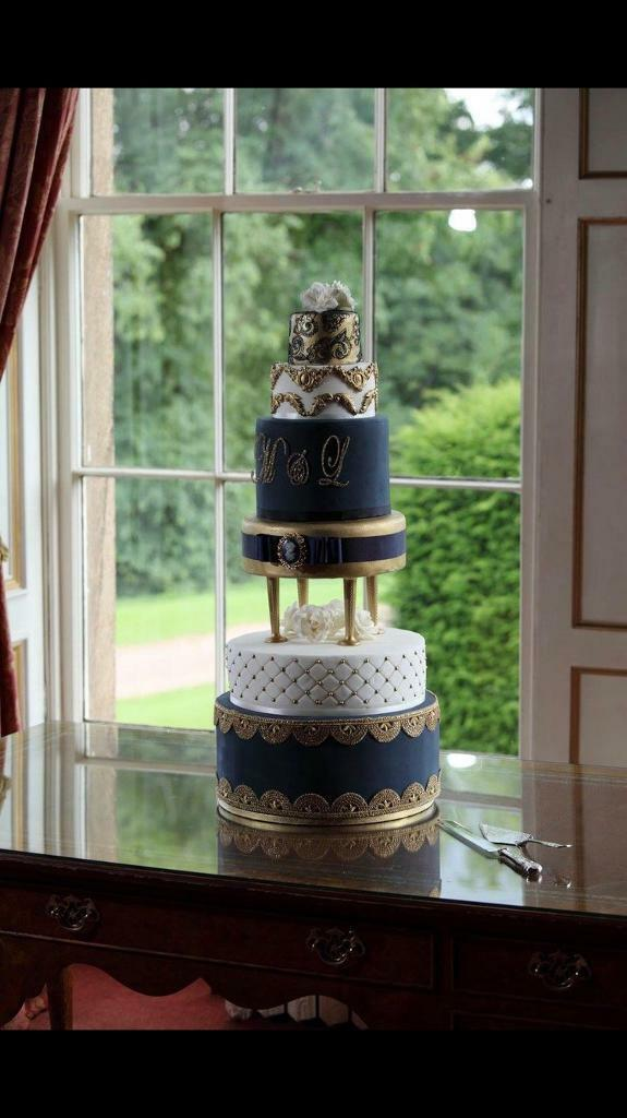 Navy And Gold Wedding Decoration Cake Bows Decoration In