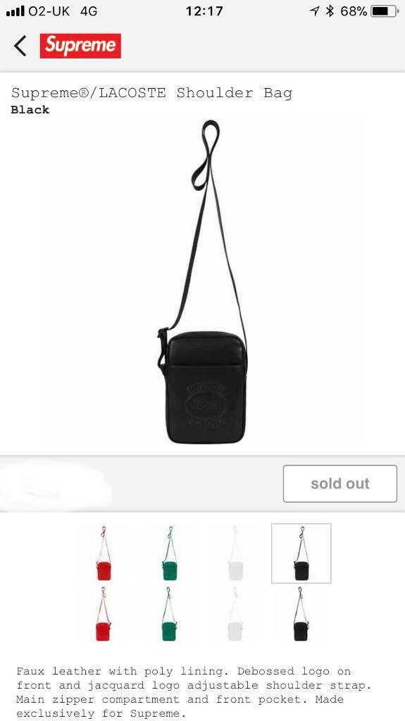 dfff50bd2e8cab Supreme x Lacoste Shoulder Bag