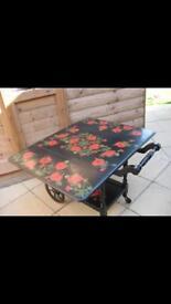 Hand painted/ decoupage wooden tea / hostess tea trolley/ table