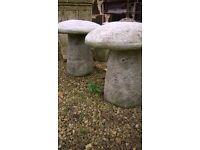 Staddle Stone Mushroom (Pair)