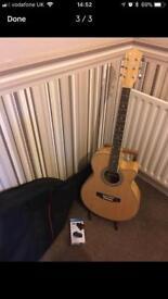 Stage acoustic guitar like new with bag, stand and tuner