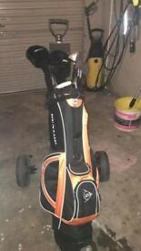 Dunlop Golf Bag, Clubs and Wheels