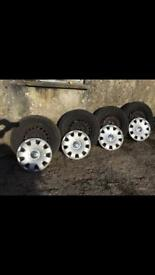 Vw vag steel wheels 5 x 112 set et47 with trims