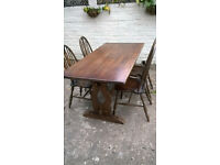 VINTAGE ERCOL REFECTORY DINING TABLE WITH 4 BEAUITFUL DINING CHAIRS