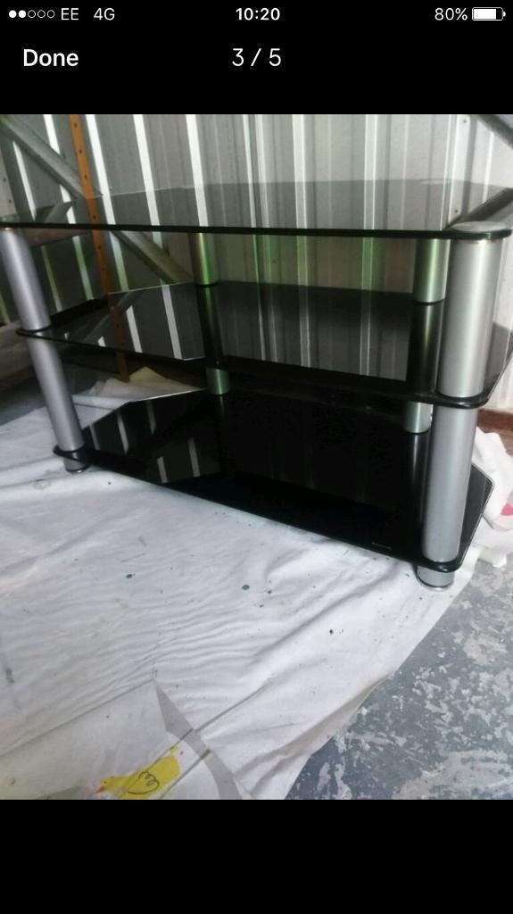 Black glass Tv stand FREE DELIVERY PLYMOUTH AREA