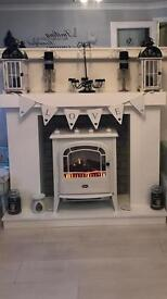 Professionally made Chunky electric stove firesurround hearth and brick effect back
