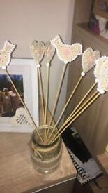Wedding decorations- wooden heart and bird accessory for flowers, cake , jars x 8