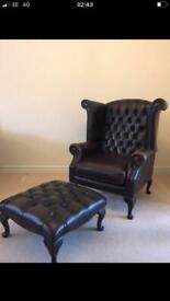 Chesterfield Queen Anne chair with foot stall
