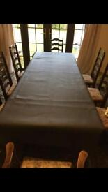 Dark oak table with 8 chairs