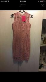 Pink boutique lace dress size 8 new with tags
