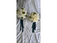 Bride and Bridesmaid Bouquet. Scottish Tartan, Thistle and Ivory Roses