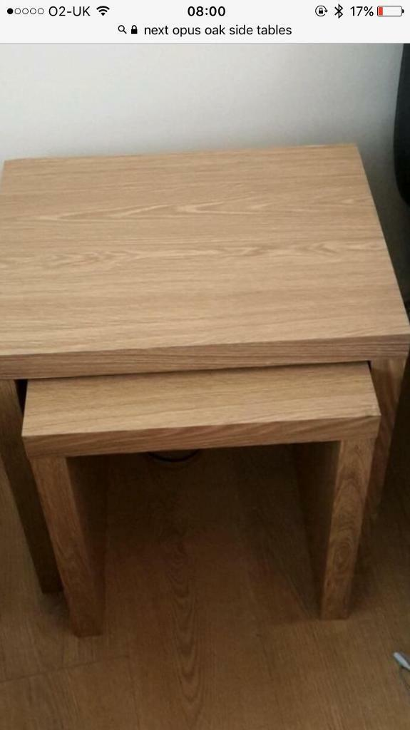 Next Opus Oak Side Table And Shelves