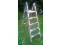 Vintage wooden painters folding step ladder great display item HELSTON £15