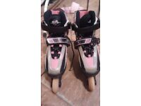 Girls roller skates pink white & black size 22-2 SFR vortex