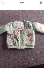 Next embroidered bomber 3-6 Months brand new