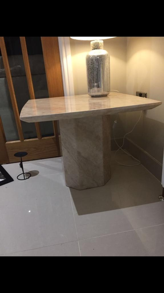 Marble lamp table . Lamp included