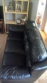 Italian leather Sofa 3 seater black
