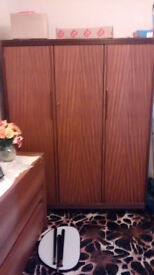 Triple wardrobe and table.