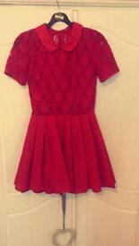 Ladies babydoll red lace dress size 8