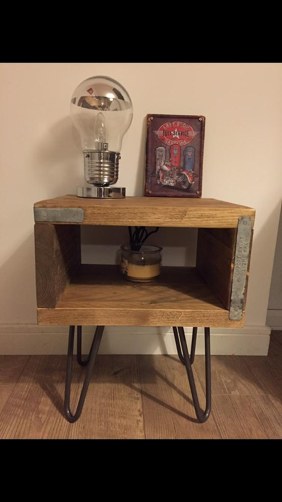 Lovley solid hand made industrial style bedside table/console table- different sizes upon request