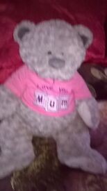 lovely teddy with the words I love you mum written on it