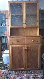 Solid pine dresser with glazed top cupboard