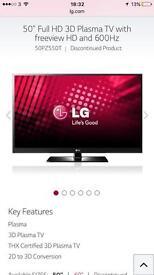 "50"" LG 3D plasma TV"