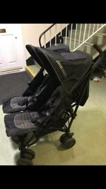 Mumma and papas grey and back double pushchair
