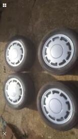 Pirelli p slots 4x100 Volkswagen wheels mk1 mk2 polo golf with centres