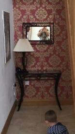 Hall table , lamp and mirror matching
