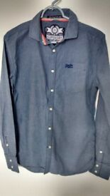 Men's/boy's blue Superdry long sleeve shirt, size Small