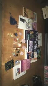 Large crystal therapy and books