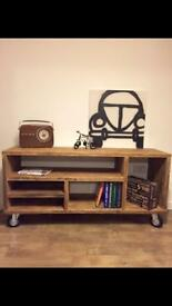 Unique extremely solid hand made industrial style tv cabinet- different sizes upon request
